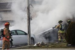 4 vehicles burst into flames at Cineplex parking lot in