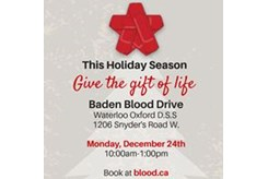 Christmas Blood Drive.90 Blood Donors Needed In Wilmot On Dec 24