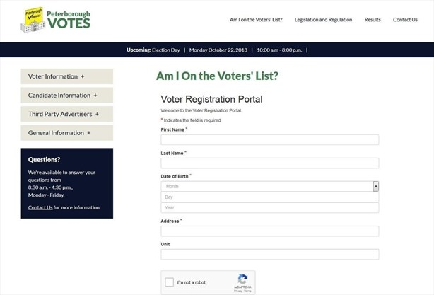Voter raises City of Peterborough website privacy concerns