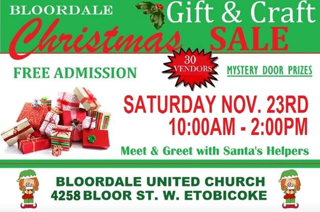 Annual Bloordale Christmas Gift & Craft Sale on November 23,2019