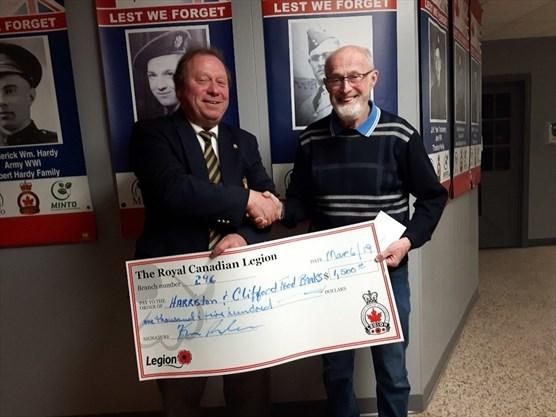 Harriston Legion donates $1,500 to local food banks