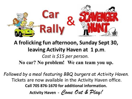Car Rally Scavenger Hunt At Activity Haven On September 30