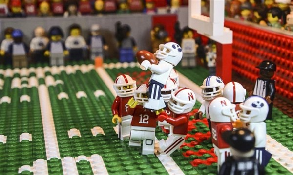 bbba441f501 This image taken from video provided by Lego animator Jared Jacobs shows a  frame from a video he created of BYU s Mitch Mathews catching a 42-yard  pass by ...