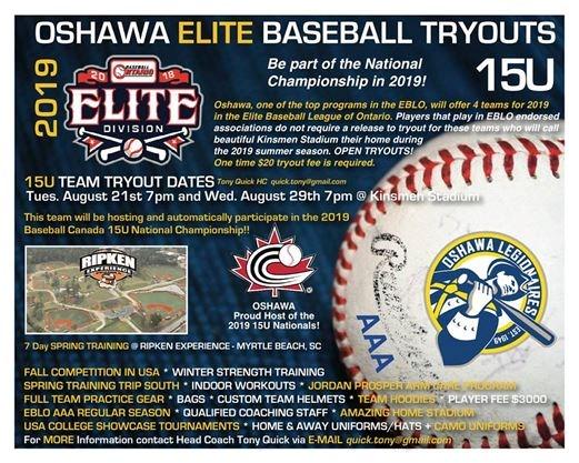 Baseball Oshawa team hosting 2019 National Championships