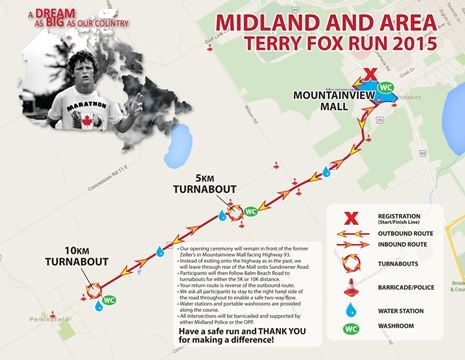 Midland Terry Fox Run partints working to outrun cancer ... on laura secord map, fred hutchinson map, samuel de champlain map, mother teresa map,