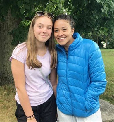 Actor Gina Rodriguez greets Peterborough fans while filming
