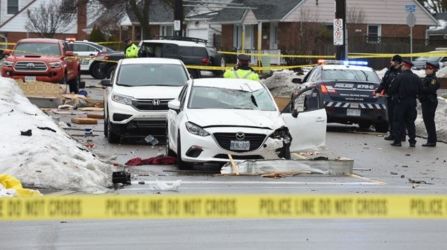 Leg, head injuries for pedestrian hit in six-vehicle Belmont