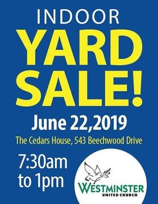 Westminster United Church Garage Sale on June 22,2019