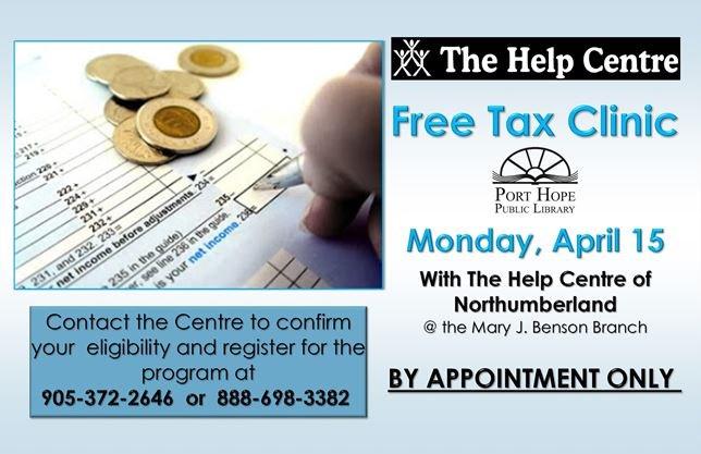 Free Tax Clinic @ PHPL on April 15,2019 | NorthumberlandNews com