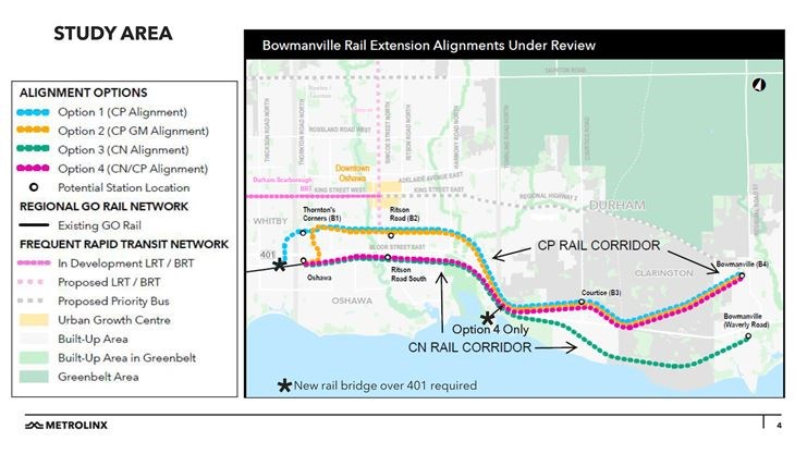 Metrolinx outlines four options for Bowmanville GO train ... on rocky mountaineer, party map, richmond hill, south west trains map, go trains ontario, bus map, mbta commuter rail, marc train, union station map, union pearson express map, canadian national railway company, golden horseshoe, union station, walmart map, go vacation map, driving test map, washington state railroad lines map, montreal metro, go metro map, thailand railway map, ymca map, via rail, commuter rail, commuter rail map, dupont circle metro map, go street map, san francisco muni metro map, rail travel usa map, transit map, toronto transit commission, toronto streetcars, via rail map,