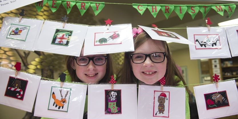 and sister scarlett coulter are pictured with christmas cards they created the proceeds of which will support the oakville milton humane society - Humane Society Christmas Cards