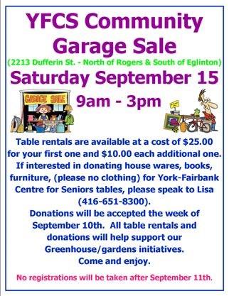 York Fairbank Centre For Seniors Garage Sale On September 15 2018