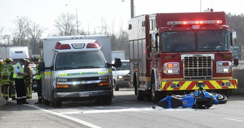 Motorcycle and car collide on Highway 401 | TheRecord com