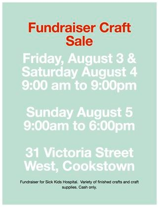 Fundraiser Craft Sale On August 03 2018 Simcoe Com