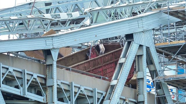 Burlington Skyway Bridge damaged by dump truck
