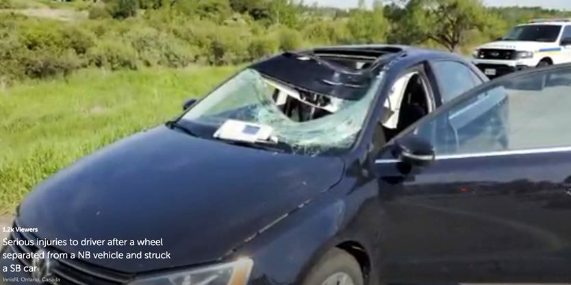 One person seriously injured after errant tire smashes through