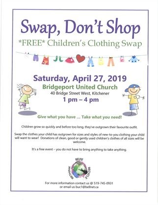 15e95869 Swap, Don't Shop: Free Kids' Clothing Exchange on April 27,2019 ...