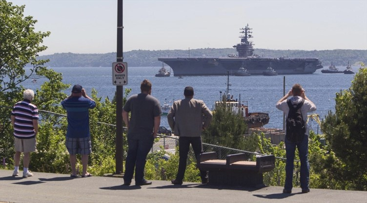Massive U S  aircraft carrier steaming toward Halifax for