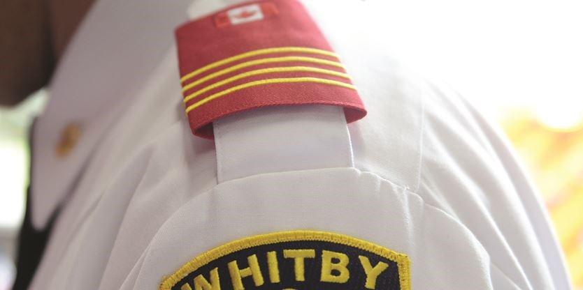 Whitby Firefighters Slip On Red Epaulettes For Wounded