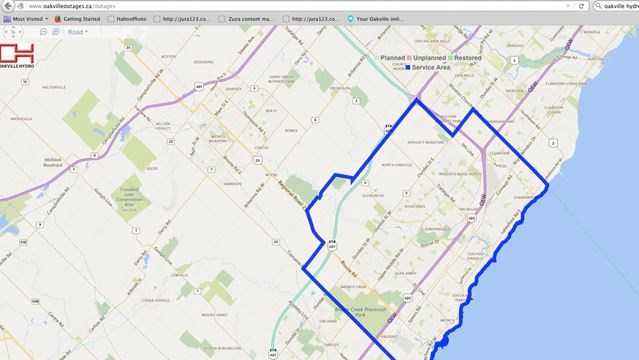 Ontario Hydro Power Outage Map.Oakville Hydro Launches Power Outage Map Insidehalton Com