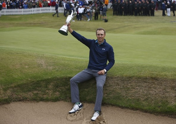 567cc0f23d259d Jordan Spieth of the United States holds the trophy after winning the  British Open Golf Championships at Royal Birkdale in Southport
