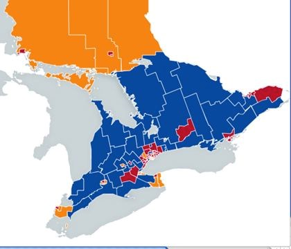 tario election map of candidates by riding