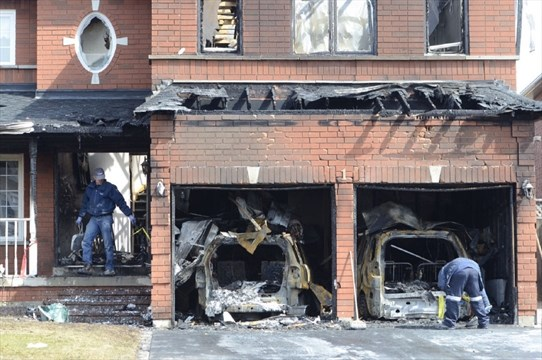 Car fire in garage causes damage to burlington