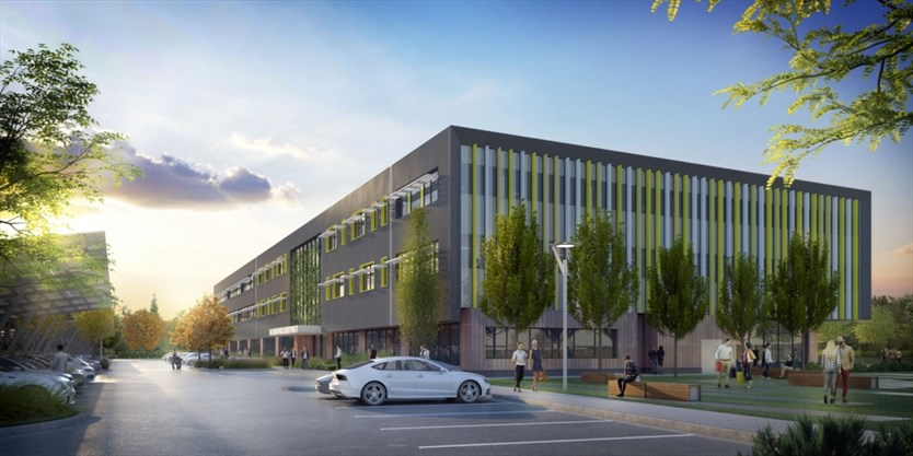 green office building. This Artist\u0027s Rendering Shows The South View Of Evolv1 Building Planned For David Johnston Research \u0026 Technology Park. - Cora Group Green Office D