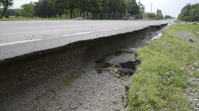 Flood waters damage infrastructure
