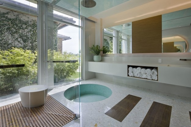 Designer michael wolk used terrazzo in this south florida residential project creating a neo modern zen like retreat dan forerthe associated press