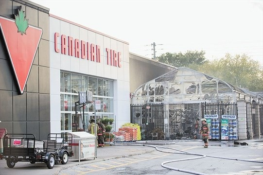No injuries in three-alarm fire at Canadian Tire in Leaside
