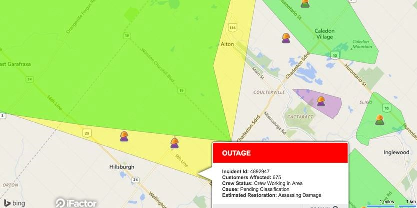 Hundreds Affected By Power Outages Wednesday Morning In Caledon