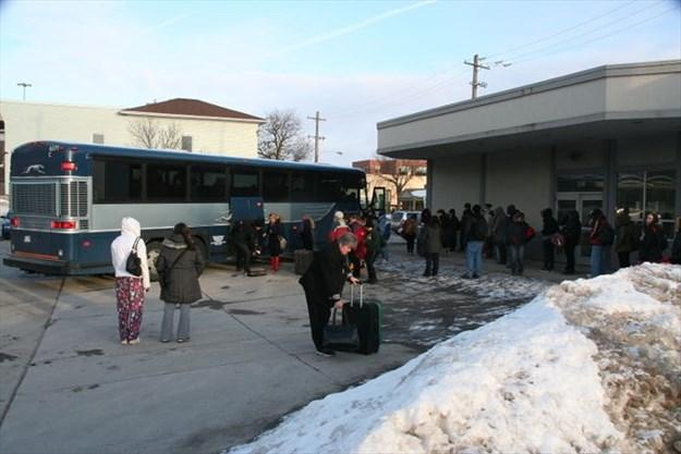 Angry Greyhound bus driver kicks off passengers at bus depot