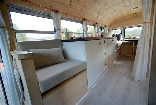 Hamilton family converts bus to camper to see the world
