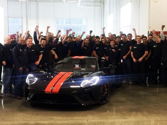 Multimatic Inc Employees And Ford Executives Celebrate The First Ford Gt Supercar Rolling Off The Line In Markham Dec   Amanda Persico Metroland