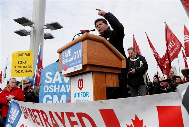 Opponents of General Motors Oshawa plant closure protest in