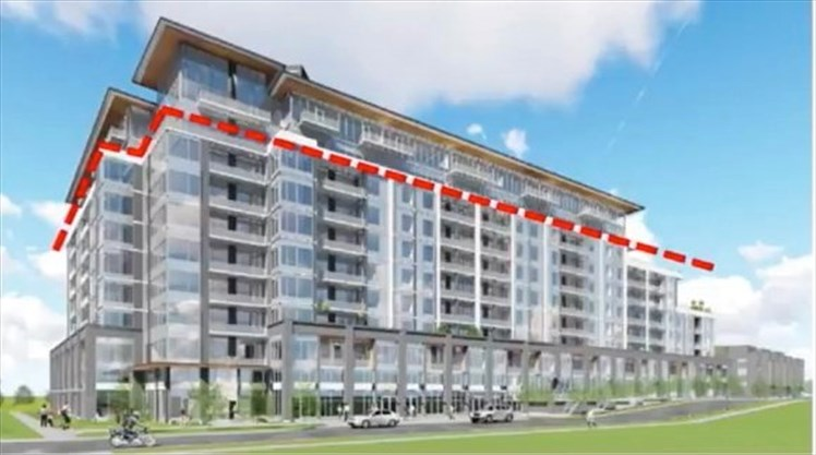 ... Building Proposed For 407 Dundas St., W. The Red Line Highlights The  Extra Two Storeys The Developer Seeks Approval For.   Town Of Oakville Photo