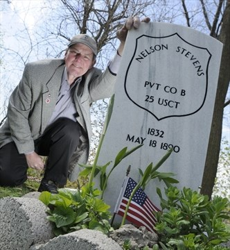 Historian Robin McKee At A Ceremonial Tombstone For Civil War Soldier From Hamilton