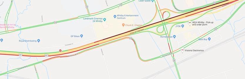 Serious crash causing delays on Hwy  401 through Whitby