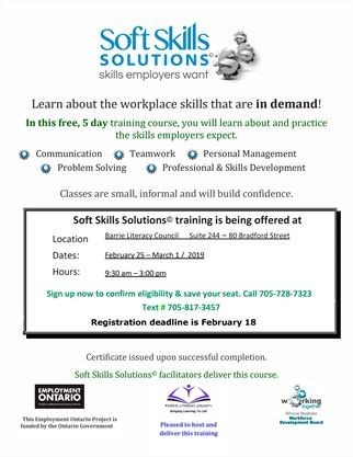 Free employment skills training on March 01,2019 | Simcoe com