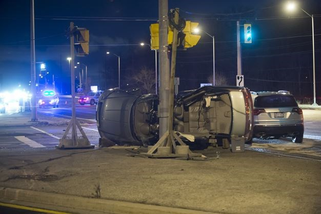 Fire crews rescue man trapped in car after vehicle rollover in Vaughan
