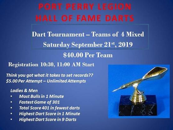 Hall of Fame Dart Tournament on September 21,2019