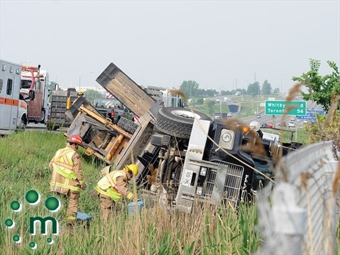 Truck flips into ditch on Hwy  401 in Oshawa | DurhamRegion com