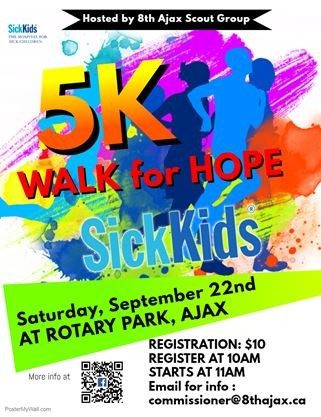 5K Walk for Hope to Benefit SickKids on September 22,2018