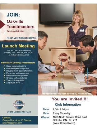 oakville toastmasters holds charter meeting