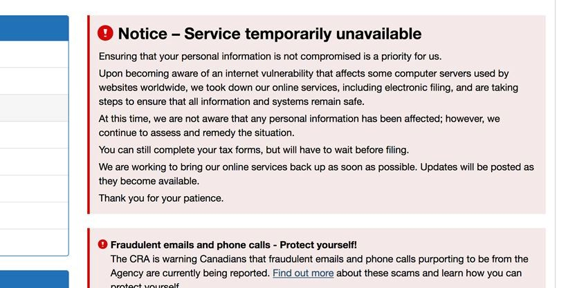 Cra shuts down online tax filing over internet vulnerability canada revenue agency shuts down online services solutioingenieria Gallery