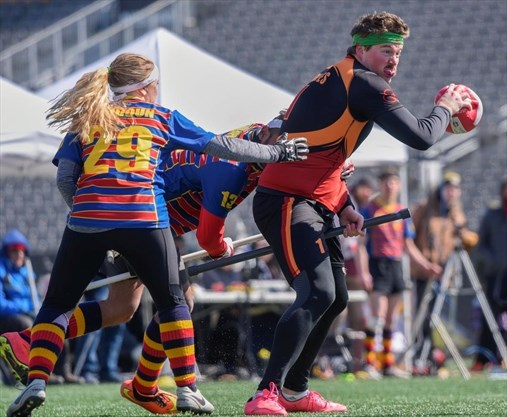5b47c755 Guelph's Denver Staines tries in vain to take a shot during the  quarter-final match Sunday between Guelph and Queen's as Quidditch Canada  staged its fourth ...