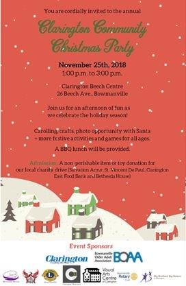 Clarington Community Christmas Party 2018 On November 25 2018 Toronto Com