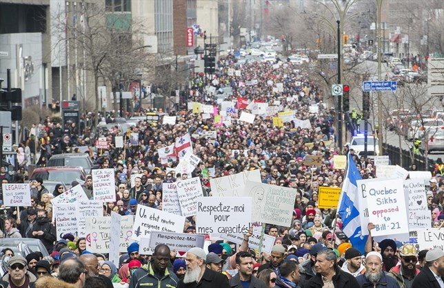 Image result for quebec bill 21 protest