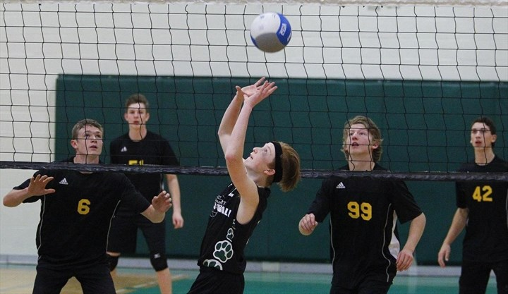 3a47918ea635 Adam Scott Lions  Jack Sweeting returns a serve against Central Hastings  Centurians during COSSA AA junior boys  volleyball championship action on  Tuesday ...